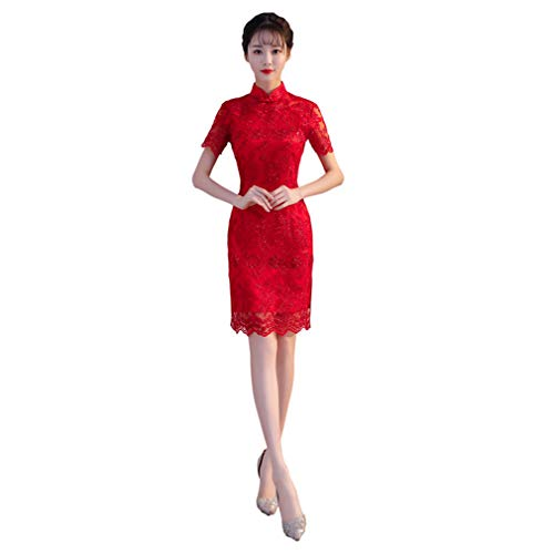YAN Frauen Chinese Dress Red Lace Stand Collar Short Sleeve Mini Cheongsam Qipao-Oriental Wedding Outfit Clothing ()