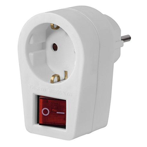 Hama Steckdose mit 2-poligem Schalter (Steckdosenadapter, schaltbar, stromsparend, Kindersicherung, 230V, Kunststoff) weiß