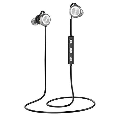 Auriculares Bluetooth, BARA X9 Magnéticos Casco Bluetooth 4.1 Auriculares Deportivos Inalámbricos con Mic, estéreo, CVC 6.0 Cancelación de Ruido Impermeable, para iOS y Android(Silver)