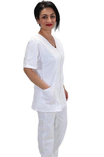 Divisa completa infermiere bianca sanitaria oss da lavoro con zip per ospedale estetica (xs, bianco)
