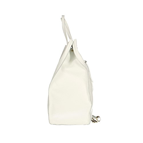 Chicca Borse Borsa a tracolla in pelle 46x34x16 100% Genuine Leather Bianco