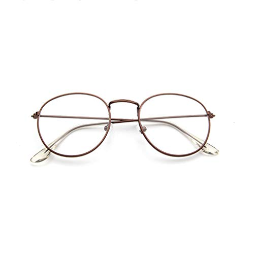 VRTUR Metall Frame Runde Brille Retro Metall Klare Linse Brille, Unisex,Schwarz, Golden, Silbern Farbe, 3 Paar (Braun, One Size)