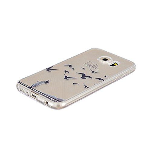Etui Samsung i9600 , Galaxy i9600 Etui , Anfire Cerise Rose Blanc Motif Mode Etui Coque TPU Slim pour Samsung Galaxy S5 G900F (5.1 pouces) Mode Flexible Souple Soft Case Couverture Housse Protection A Oiseau