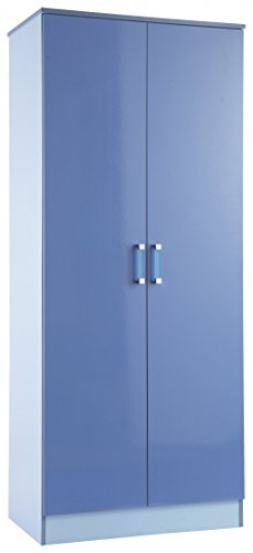 2 Door Double Wardrobe in Two Tone Blue High Gloss
