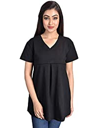 Mommy Cuddle Women's Cotton Spandex Nursing Tank Top(Free Size, Black)