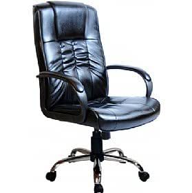 Turin Chrome High Back Leather Faced Executive Office Chair