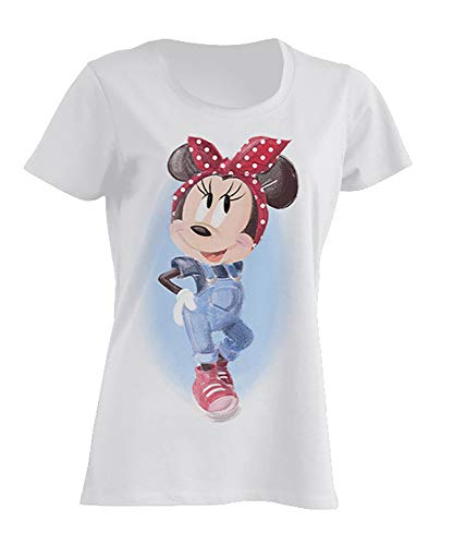 Disney Damen T-Shirt Minnie Mouse Pin-Up , Weiß, M