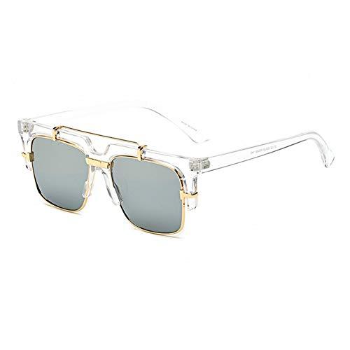 Taiyangcheng Polarisierte Sonnenbrille Markendesigner-Sonnenbrille Damenmode Metall Steakpunk-Sonnenbrille Herren-Sonnenbrille Marke Randlose Oversize-Sonnenbrille Plain Glass,c6