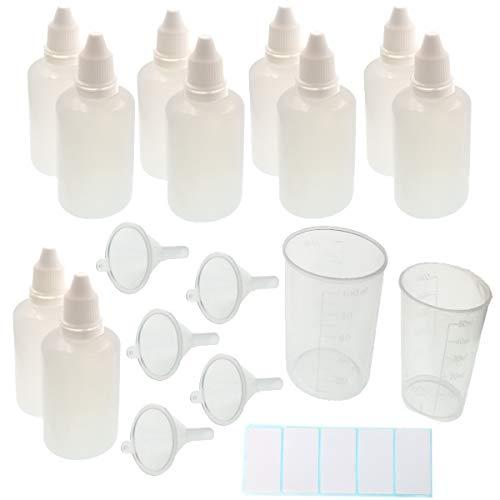 JZK 10 Comprimibile 50 ml bottiglia flacone contagocce plastica con tappo e beccuccio +5 mini imbuto +2 dosatore misurino 100ml e 50ml +12 etichette adesive per liquidi e oilo