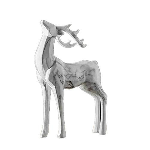 LQCN Figura de Ciervo marmoleado geométrico Origami Animales Arte Escultura Resina Arte y artesanía Decoración de Escritorio para el hogar Oficina -27x13x31cm