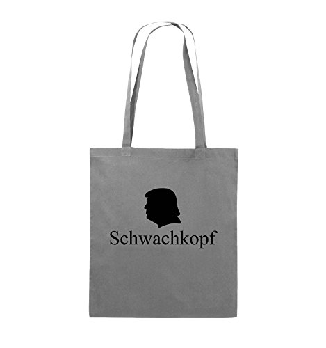 Comedy Bags - Schwachkopf - TRUMP - Jutebeutel - lange Henkel - 38x42cm - Farbe: Schwarz / Weiss Dunkelgrau / Schwarz