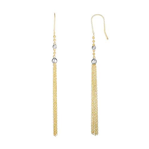14ct Gelb WHT Gold 85x 4mm zweifarbig Diamant Schnitt SML Bead gelb Kabel Kette Quaste Ohrringe Euro Clas