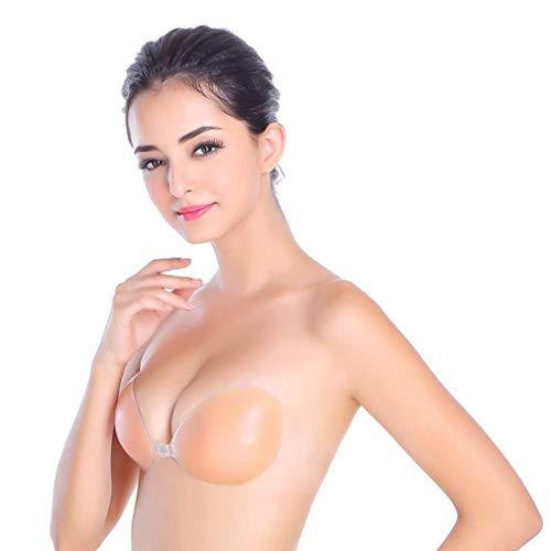 Trägerloser rückenfreier Silikon-BH in nude/hautfarben mit Push-Up Effekt für ein traumhaftes Dekolleté - selbstklebend und bügellos - von Boolavard® TM (C)