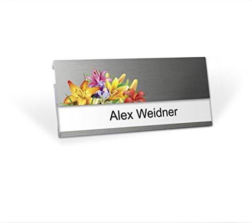 Modernes Namensschild mit branchenspezifischem Logo Florist, MSF mit starkem Doppelmagnet, Clip und Nadel, Silberfarben, selbstbeschriftbar mit Ihrem Wunschnamen , wiederverwendbar, Namensschildchen für Kleidung, Blumengeschäft