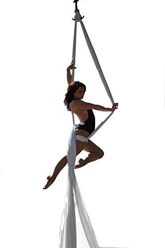 Diy Tuch (Yoga DIY Silk Pilates Aerial Silks Equipment Aerial Yoga Tuch Aerial Silk elastische Yoga Hängematte NUR Stoff KEIN Zubehör 10 Meter (Weiß))