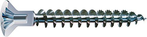 SPAX Universalschraube mit Kopflochbohrung, 4,5 x 40 mm, 500 Stück, Kreuzschlitz Z2, Kleiner Senkkopf (Ø 5mm), Vollgewinde, WIROX A3J, 0271010450405
