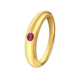 CLEVER SCHMUCK Goldener sehr Kleiner Mädchen Taufring schlicht mit Zirkonia Stein rubinrot – pink glänzend 333 Gold 8 Karat