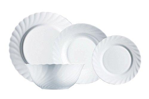 Luminarc Vajilla de Vidrio a bajo precio Opal Extra Resistente para 6 Personas, 19 Piezas, 100% higiénico, con ensaladera, Blanco