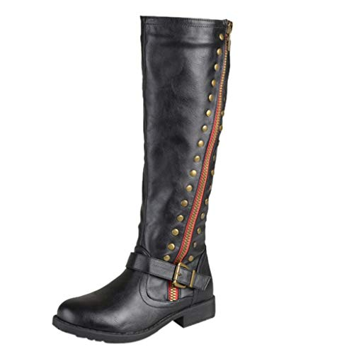 MOTOCO Women Western Cowboy Knee High Boots Women Leather Punk Boots Low Thick Heel Rivet Button Side Zippper Booties