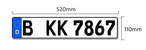 Preisvergleich Produktbild Kfz Kennzeichen mit Eurofeld 520x110mm, reflektierend, aus Aluminium