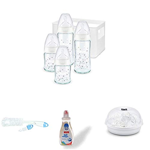 NUK First Choice Plus Glas Babyflaschen Starter Set + Flaschenbürste mit integrierter Saugerbürste + Spülmittel für Babyflaschen & Sauger + Micro Express Plus Mikrowellen Sterilisator -