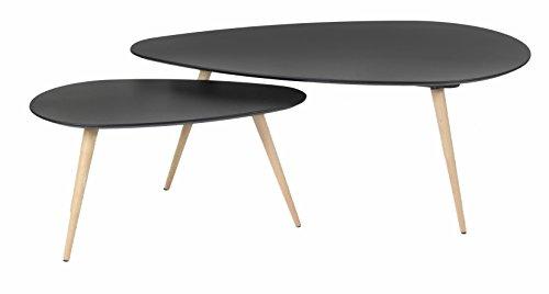 Id'Click Duo de Tables Basses Gigones en MDF Chêne Laqué Style Nordique Scandinave