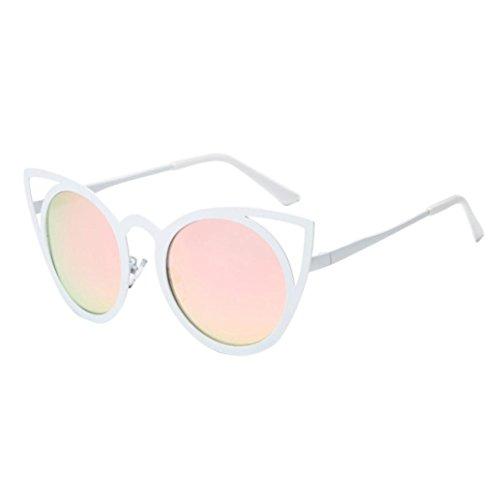 Klassische Sonnenbrille Rosennie Frauen Männer Vintage Retro Brille Unisex Mode Katze Ohr Metallrahmen Sonnenbrille Damen Mirrored Kunststoff Brille Ultra Thin Ultra Light Aviator Sunglasses (Pink)
