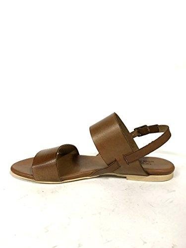 Sandali in pelle fasce 128-22 tacco basso cuoio infradito MainApps Cuoio