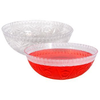 2-PACK, Plastic Round Crystal-Cut Serving Bowl for Salad, Punch or treats by Party! (Punch Bowl Cut)
