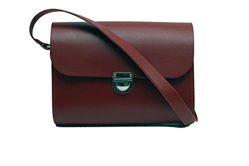 Schwarz Echtes Leder Kleine UmhŠngetasche Crossbody Handtasche mit Verschluss und verstellbarem Gurt