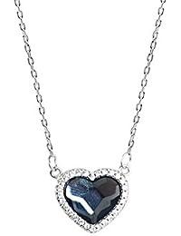 KOMO tempérament des femmes pendentif en cristal bleu s925 en forme de coeur en argent sterling de la clavicule courte chaîne Collier de l'amour