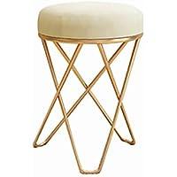 Taburete De Bar Golden Dressing Chair Forjado Maquillaje Taburete Lavable Cubierta De Franela Nordic Moderno Simple PequeñO Y Redondo Taburete HabitacióN del Sitio Taburete Lindo para Adultos Y NiñOs