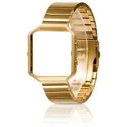 Band Für Fitbit Blaze mit Metallrahmen, Wearlizer Edelstahl-Armband mit Metallrahmen, Ersatz Metall-Uhrenarmband für Fitbit Blaze