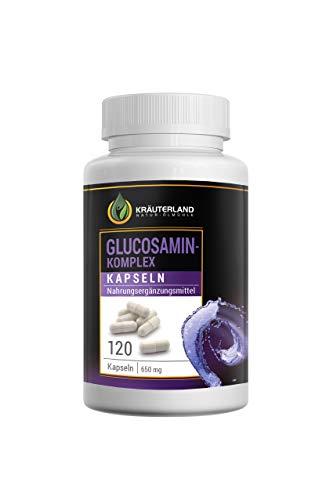 Kräuterland Glucosamin Komplex Kapseln, 120 Kapseln à 400mg Glucosamin + à 250mg MSM, in wiederverschließbaren Dosen, sofortiger Versand -