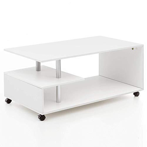 Wohnling Table Basse Design Letty Blanc 105 x 48,5 x 60 cm avec roulettes | Table de Salon Coffee Table | Table de Salon en Bois | Table de Salon en Bois | Table à café avec Espace de Rangement