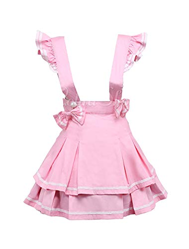 Antaina Rosa Hosenträger Baumwolle Layered Bowknot Plissee Lolita Rock Kurzes Kleid Knielang Elegant Faltenrock,L (Flamingo Hosenträger)