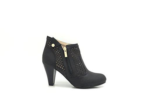 CHIC NANA Chaussure Femme Bottine à Talon Style Nubuck Perforée.