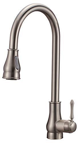 Design Küchen Spültisch Einhebel Armatur Ausziehbar Edelstahl Optik Nickel Gebürstet 2 Strahlarten Sanlingo