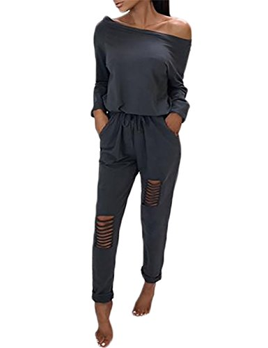 Longwu Frauen Casual Off-Schulter Kordelzug Overalls Knie Loch Hosen Party Club Rompers Jumpsuit Dunkelgrau-M