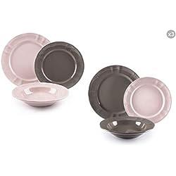 Excelsa Country Chic juego de platos de cerámica, Rosa y Gris