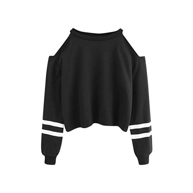 195b7dabc518a Femmes Sweat-Shirt Manches Longues Off Épaule Sport Chemisier Swag Court  Hip-hop Sweat ...