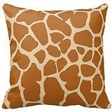 Brown and Khaki Giraffe Animal Print Decorative Pillow Cushion Case Covers 18X18 Inches Two Sides