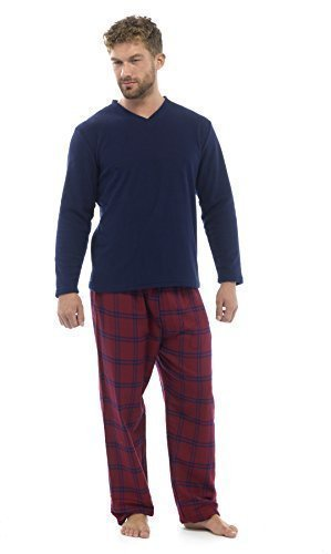 Mens Pyjamas Modern Set Warm Long Check Bottoms Lounge (Medium, HT735M WINE)