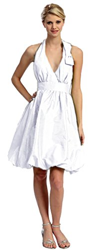 Cocktailkleid Abendkleid kurz Brautkleid Standesamtkleid Neckholder Ballonrock Taft weiß