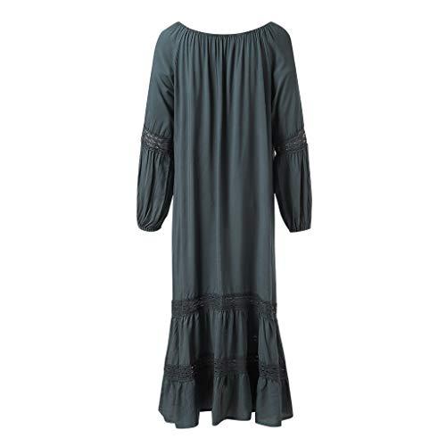 BBring Sommerkleider Womens Holiday Lace Up Damen Sommer Pomisi Lose Strandparty Maxi-Kleid (S, Grau)