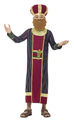 König Balthasar Kostüm - Smiffys Kinder Jungen König Balthasar Kostüm, Gewand, Hut, Bart, Gürtel und angebrachte Myrrhe Flasche, Alter: 7-9 Jahre, 48037