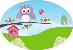 Schuletiketten étiquettes pour enfant avec prénom personnalisable motif : hibou heureux () - 31 pièces