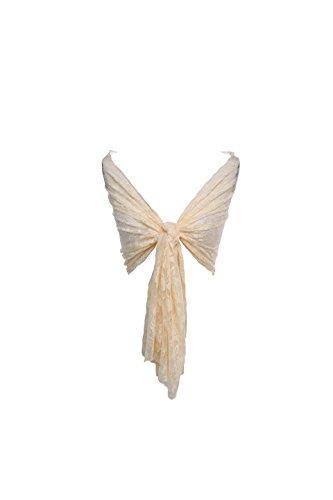 Timormode Spitzen Stolen Damen Tuch Floral Blumen Damen Schal mit Spitzen 10208 Pfirsiche 180cm*50cm