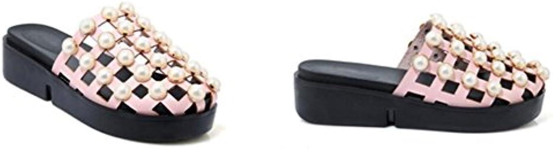 WEIQI-Sandalias de Las Señoras/Zapatos Flojos de la Parte Posterior de la PU del Verano PU/ahuecando, Perlas,...