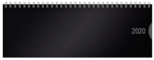 Tischquerkalender Classic Colourlux schwarz 2020: 1 Woche 1 Seite; Bürokalender mit nützlichen Zusatzinformationen; Format: 29,8 x 10,5 cm